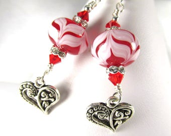 Red and White Lampwork Glass and Swarovski Earrings with Hearts on Sterling Wires