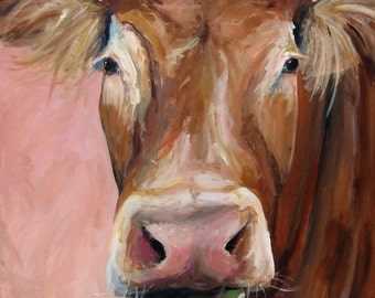 Cow Painting - Cecilia - Paper Print of an original painting by Cari Humphry