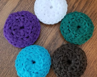 Set of 3 Crochet Scrubbies / Nylon Scrubbers / Pot Scrubber / Dish Scrubber / Nonstick Pan Scrubber / Nonstick Pan Scrubbies / Dishcloth Set