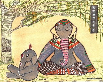 Namaste Yoga Art Elephant Painting Lotus Pose Zen Doodle Art Print