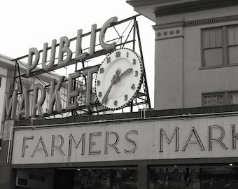 Pike Place Market Photo, Seattle Photo, Seattle Print, black and white