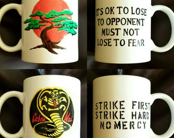 Set of 2 Hand Painted mugs inspired by The Karate Kid