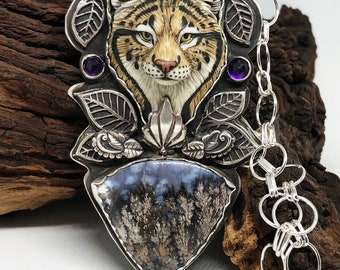 Keeper of Secrets sterling silver porcelain, plume agate and Amethyst Lynx cat artist necklace OOAK RESERVED