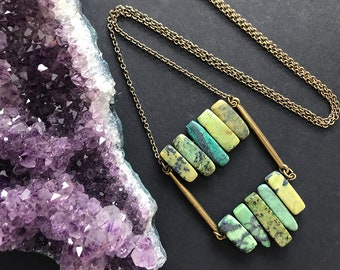 Green Agate Pendant Necklace // Long Necklace // Natural Stone Necklace // Ladder Necklace // Boho Necklace // Unique Necklace // Handmade