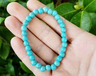 Turquoise Bracelet - Blue Gemstone Bracelet, Gemstone Jewelry, Beaded Bracelet, Turquoise Bracelet, Turquoise Beaded Bracelet