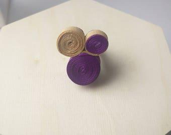 Unique Coil Statement Ring - Purple & Gold