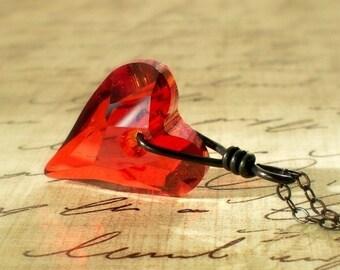 Red Heart Necklace Swarovski Crystal Sterling Silver Pendant Under 30 Valentine