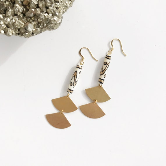 Kennedy Earring // hand painted black and gold bone bead and brass statement earring