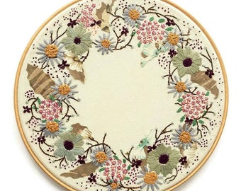 Floral Wreath, Wall Decoration, Embroidery Art,  Floral Hoop,  Hand Embroidery, Hoop Art, Hanging Embroidery, Mixed Media