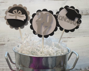 Graduation Cupcake Toppers, FREE US SHIPPING, Cupcake Toppers, Class of 2018, Cupcake Toppers, Set of 12