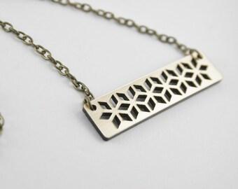 Floral Cutout Bar Necklace | Bronze Geometric Laser Cut Pendant
