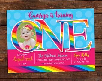 Printable Rainbow Birthday Invitations ~ Rainbow birthday invitation rainbow kids birthday invite st