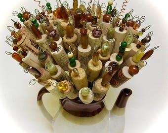 Alternative Floral Bouquet Beaded Wine Cork