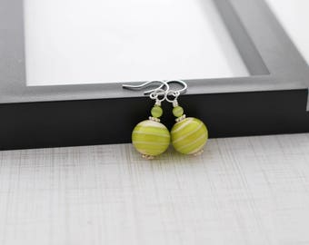 Green Lampwork Earrings, Lime Green Earrings, Glass Earrings, Drop Earrings, Artisan Glass, Handmade Earrings, Silver Earrings, Gift For Her