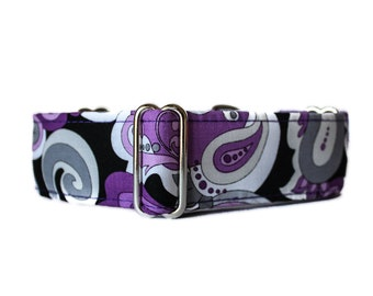 1.5 Inch Martingale Collar, Purple Martingale Collar, Paisley Dog Collar, Purple Dog Collar, Made in Canada, Whippet Collar