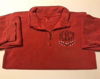 Comfort Colors Cotton Stem Monogrammed Quarter Zip Sweatshirt
