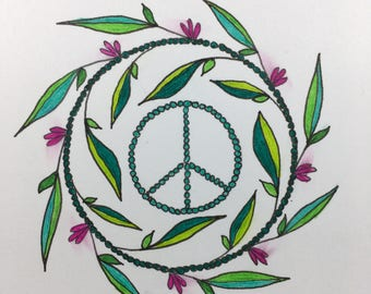 Peace Sign Holiday Greeting Card Set