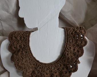 Brown Crochet Statement Collar