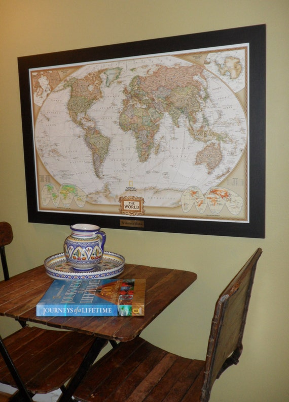 Personalized earth toned world push pin map with brass plate gumiabroncs Gallery