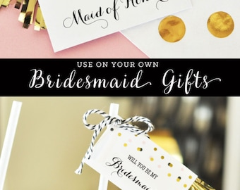 Will You Be My Bridesmaid Tags Will You Be My Bridesmaid Wine Label Tag Will You Be My Bridesmaid Gift Tags (EB3095) set of 6 Tags & Tassels