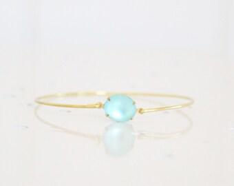 Frosted Aqua Blue Set Stone Bangle, Blue Bangle, Blue Jewelry, Rhinestone Bangle, Bezel Bangle, Colored Stone Bracelet