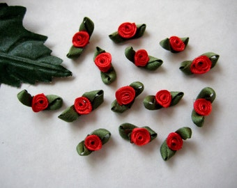 36 pcs Tiny RED Ribbon Rose Bud with Green leaves Appliqués  for Crafting, Sewing, Doll Clothes, Baby Clothes - 1/2 inch/ 15 mm