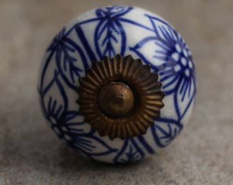Set of 3 White Ceramic Cabinet Knob with Blue Flowers