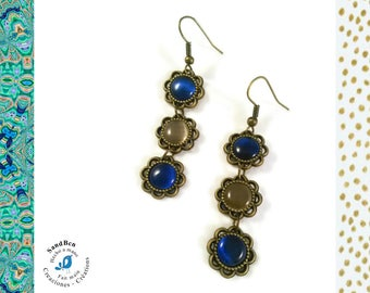 Earrings Cabochons Baroque Bronze jewel Baroque blue beige gift woman made hand gift mother of mothers great mothers dangle earrings