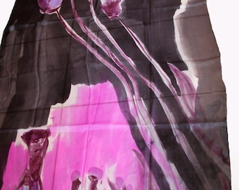Hand painted silk shawl/Hand painted Woman Scarf/Exotic flowers/Abstract Art shawl/Woman silk scarf/Luxury  shawl/Long luxury shawl/H0199