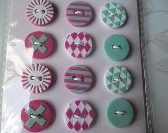 mixed 12 x 6 patterns 2-hole 15 mm Plastic round buttons