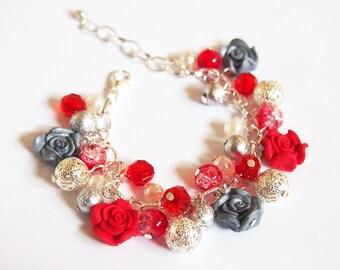 Red Rose Bracelet ( silver rose bracelet red bracelet beaded bracelet charm bracelet flower bracelet bridesmaid bracelet rose jewelry )
