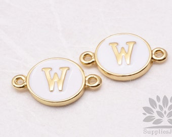 """IP004-G-W// Gold Plated White Epoxy Initial """"W"""" Round Pendant Connector, 2 pcs"""