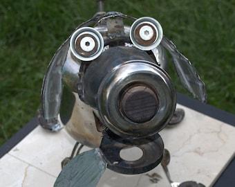 Dog Found Object Metal Art Sculpture 16 x 16 x 10 Metal Dog