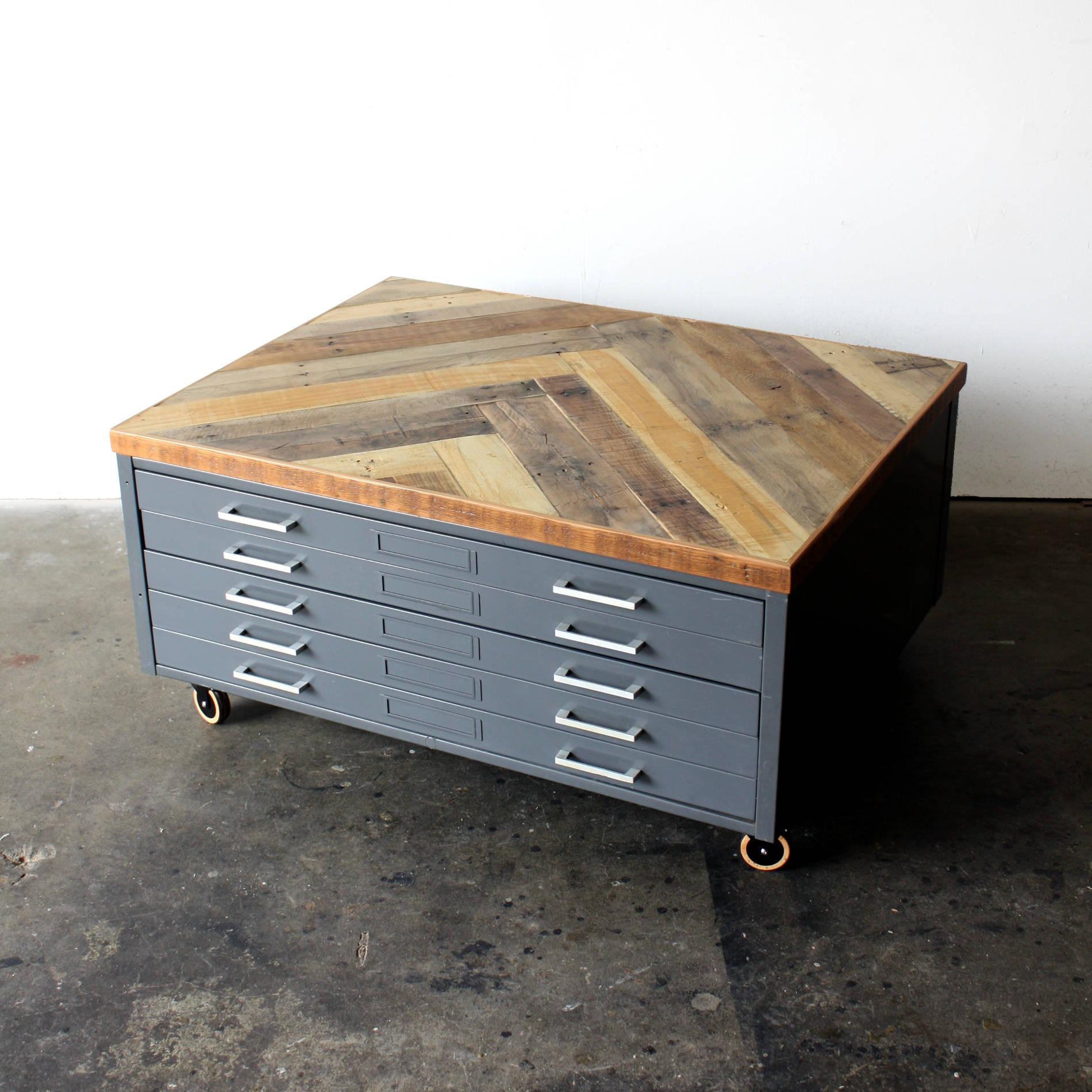 Repurposed Coffee Table Reclaimed Wood Herringbone Vintage