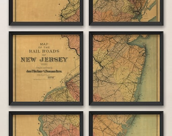 New Jersey Map, Antique Map Art Print Set, 1887, Archival Reproduction, Set of 6 Prints