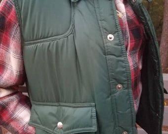 1970s vest//Sigallo green Puffy Vest//vintage 70s vest