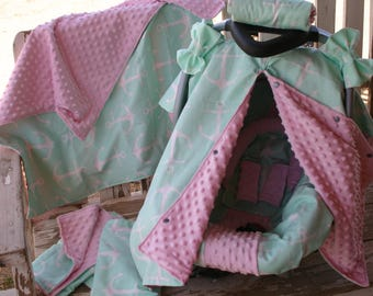 mint anchors w/baby pink minky infant car seat cover and hood w/optional canopy cover,headsupport,strap covers,blanket,burp clothes,blanket