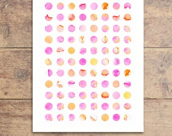 Modern Nursery Decor - Baby Girl Nursery Art - Modern Nursery Art - Pink Nursery Art - Pink Dot Painting - Watercolor Polka Dot