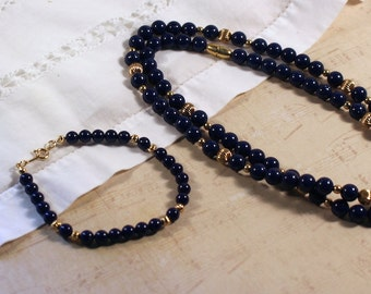 Avon Lapis Blue Reflections Beaded Necklace and Bracelet - Vintage 1985