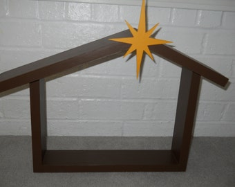 Wooden Christmas Stable/Nativity Stable with Star