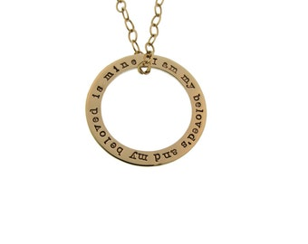 14K Gold Hand Stamped Washer Necklace Personalized Open Circle Charm Custom Engraved Artisan Handmade Fine Designer Fashion Wedding Jewelry