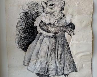Original Sally Squirrel Drawing on Handmade Paper