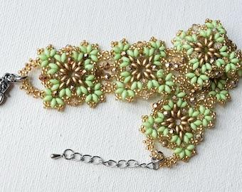 Beadwork Bracelet, Cuff Bracelet, Beaded Bracelet, Seed Bead Bracelet, Beadwoven Bracelet, Austrian crystals beads