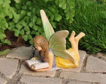 Reading Garden Fairy for Miniature Garden, Fairy Garden