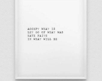 accept, let go, have faith print // inspirational poster // black and white home decor print // positive thinking print // home wall decor