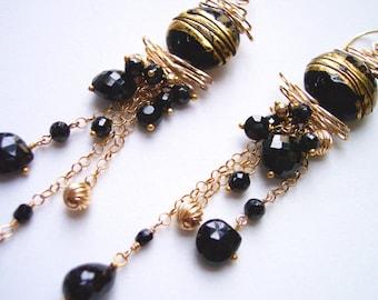 Black Spinel Shoulder Duster Chandelier Earrings, Gift for Her, Evening Wear, Grounding Stones, Dark, Boho, Black and Gold