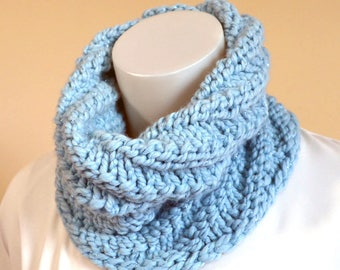 Baby Blue Hand Knit Cowl, Warm Blue Neck Warmer, Chunky Knit Cowl, Soft Wool Cowl, Swirled Cowl, Handmade in the USA, Ready to Ship