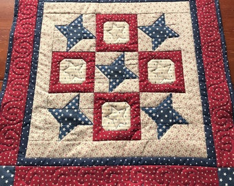 Patriotic Quilted Table Topper, Red White Blue Decor, Independence Day Decor, Patriotic Quilt Wall Hanging, Scrappy Table Topper
