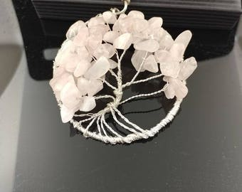 Rose quarts tree of life made with siver wire