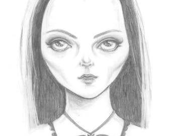 Lily Munster an A6 postcard of my original graphite drawing